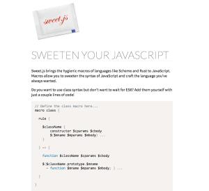 sweet.js 홈페이지 화면
